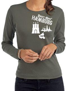SEXY HAMBURG SWEET HOME HH SKYLINE LADIES INDIV. LANGARM/LONGSLEEVE T-SHIRT!