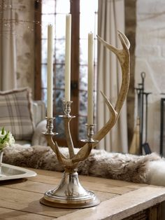 Living in the mountains - Channing Stag Candleabra - Ralph Lauren Home Alpine Lodge, Antler Art, Antler Crafts, Lodge Style, Home And Deco, Rustic Elegance, Candlesticks, Rustic Decor, Rustic Wood