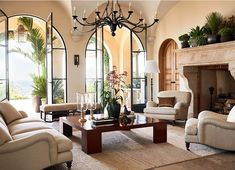 Found on Bing from www.pinterest.com Design Hotel Paris, Style Villa, Modern Mediterranean Homes, Mediterranean Architecture, Modern Homes, Mediterranean Living Rooms, Home Luxury, Design Living Room, Tropical Home Decor