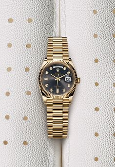The new Day-Date 36 in yellow gold featuring a dark grey dial with diamond hour markers in yellow gold settings. Luxury Watches, Rolex Watches, Watches For Men, Hobby Lobby Frames, Montres Hugo Boss, Rolex Bracelet, Kids Winter Fashion, Hobbies For Women, Watches Photography