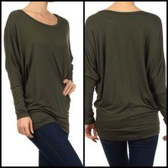 Olive tunic top!  $32.99 available in sm, med, l, & xl. It would look awesome with leggings and boots or jeans and heels! Dress it up of down!!! Love that! Head over to www.OceanAvenueBoutique.com #freeshipping #fashion #Olive #tunic
