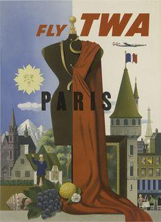 TWA Paris travel poster, 1950's.