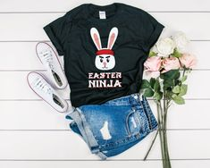 Easter Ninja Funny Easter Shirt - Kids Easter T-Shirt - Easter Gift For Kids - Boy Easter Shirt - Easter Bunny Shirt - Egg Hunt Shirt Easter Shirts For Boys, Easter Gifts For Kids, Kids Shirts, Women's Shirts, Ninja Funny, Funny Drinking Shirts, Tacos, Cotton Polyester Fabric, Quality T Shirts