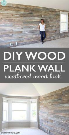 Diy plank wall - DIY Wood Plank Wall With Chalk Paint® – Diy plank wall Diy Wood Wall, Wooden Diy, Faux Wood Wall, Decorative Wood Wall Panels, Stick Wood Wall, Wooden Wall Design, Diy Pallet Wall, Wooden Signs, Wood Plank Walls