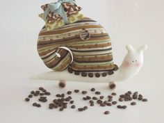 Handmade home decor plush softie toy stuffed animal Snail - I LOVE COFFEE stuffed sachet Snail- gift idea for girl,mom- gift for bitrhday. $20.00, via Etsy.