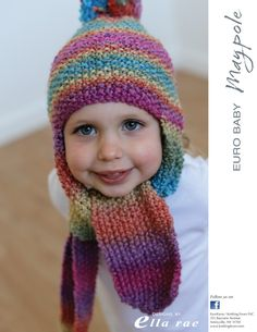 Ravelry: Beanie with Scarf pattern by Ella Rae Knitted Hats Kids, Baby Hats Knitting, Knitting For Kids, Baby Knitting Patterns, Knitting Designs, Crochet Patterns, Knit Hats, Free Knitting, Easy Crochet Hat