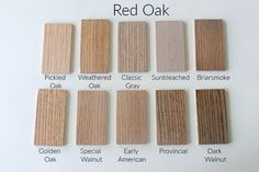 How 10 Different Stains Look on Different Pieces of Wood - Within the Grove Stains on Red Oak Red Oak Stain, Red Oak Floors, Red Oak Wood, Oak Wood Stain, Hardwood Floor Colors, Oak Hardwood Flooring, Engineered Wood Floors, Wood Colors, Paint Colors