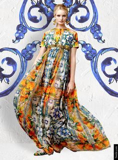 Maud Welzen for Dolce & Gabanna | Majolica print dress