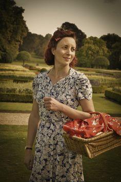 original 1940s dress, scarf and basket Wimpole at War