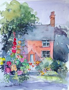 watercolour and pen Hollyhock Cottage