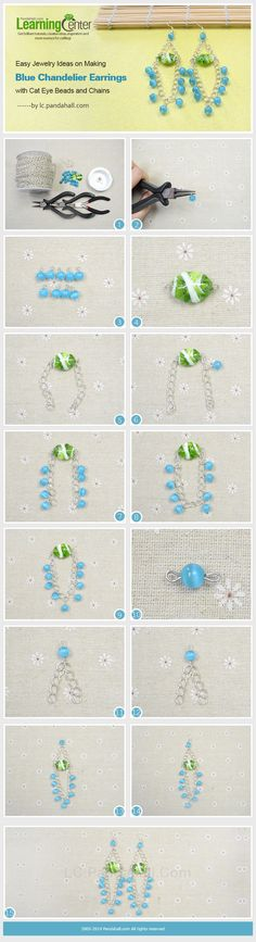 Easy Jewelry Ideas on Making Blue Chandelier Earrings with Cat Eye Beads and Chains