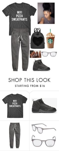 """wifi • pizza • sweatpants"" by caaydollas ❤ liked on Polyvore featuring NIKE, H&M and Yves Saint Laurent"