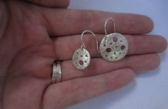 SALE Holey Earrings Silver Disc Earrings Crater by TheShedStudios