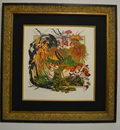 The Rooster is a giclee print by a Scottish artist. The intricate print design is enhanced by using a gold fillet and frame complimenting the print's complexity