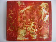 Textures on Orange by EncausticsEtc on Etsy, $25.00