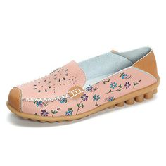 Floral Print Hollow Out Breathable Color Match Casual Slip On Flat Shoes is  cheap and comfortable. There are other cheap women flats and loafers online  ...