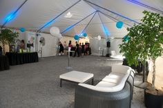 Tents are easy to fancy-up; hang lights and lanterns for an inexpensive punch of colour.    Urban Capital Blue looked slick at the Central 2 groundbreaking party.