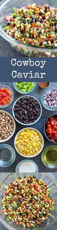 Cowboy Caviar is packed with colorful, fresh ingredients that also happen to be healthy. Makes a great salsa, dip, or salad at your next party or barbecue! Naturally vegan and gluten free. Cowboy Caviar, Finger Foods, Dinner Recipes, Simple, Finger Food, Supper Recipes, Recipes, Snacks