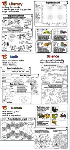 Great for the Bugs Badge! 20 bug fact cards that can be used as part the scavenger hunt or with the other games and activities included. Math: Draw a web pie chart for your bug data and complete a venn diagram Science: Learn about the butterfly lifecycle and make an identification key. A science board game is also included.