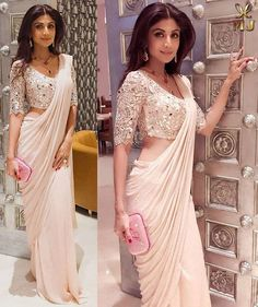 Taare Zameen Par....... Superstar #ShilpaShettyKundra in a shimmering #chiffonsaree paired with a dazzling mirror work blouse!