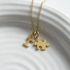 Gold Jigsaw Puzzle Necklace, New from Lily Charmed