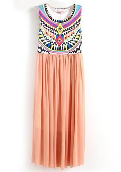 Pink Tribal Embroidery Pleated Dress.