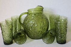 Anchor Hocking Lido Milano Pitcher with 8 Glasses Mid Century Glassware by digatomic on Etsy