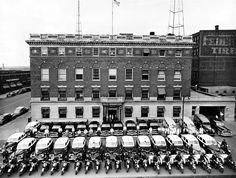 One-fifth of the Omaha Police Department personnel and one-third of its vehicles are represented in this July 29, 1949, photo. The picture was taken in front of Central Station for a new city yearbook. THE WORLD-HERALD