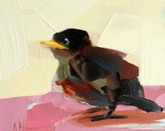 Baby Starling original bird oil painting by Angela Moulton 5 x 5 inch on panel ready to ship April 17