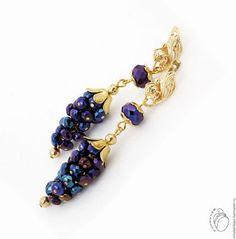 Мирабель-бижутерия. Серьги грозди, синие фиолетовые переливчатые виноградные…