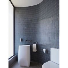 Curved bathroom wall with Yohen Border tiles by Inax (Japan). Photo by Bathroom Renovations, Bathrooms, Border Tiles, Curved Walls, Japan Photo, Blue Rooms, Bathroom Wall, Wall Tiles, Toilet