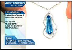 Swiss Blue Topaz and Diamond Pendant in 18K white gold