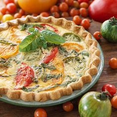 "Heirloom Tomato and Onion Quiche, along with 28 ""Hearty Vegetarian Main Dish Recipes"""
