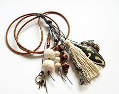 Boho lange Halskette, lange Quaste Halskette, braunem Leder
