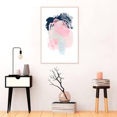 Abstract Art Pink and Navy Blue Wall Art Large Downloadable