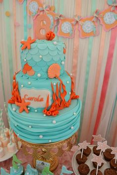 Stunning cake at a mermaid birthday party! See more party ideas at CatchMyParty.com!