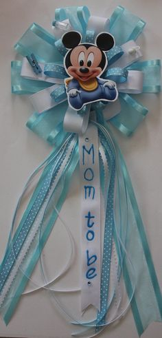 baby mickey mom to be corsage by DualCreations on Etsy