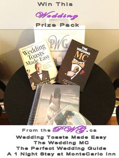 #WIN 2013 Edition of A Perfect Wedding Guide – 20.00 :: A copy of Wedding Toasts Made Easy by Tom Haibeck 12.00 :: A copy of The Wedding MC by Tom Haibeck 12.00 :: a Voucher for a 1 nights stay at the Monte Carlo Inn. 175.00 Deatials Here: http://www.theperfectweddingguide.com/wedding-dress-shopping