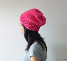 Hand Knitted Chunky Hat in Pink  Fuchsia Sparkly by naryaboutique, $24.00