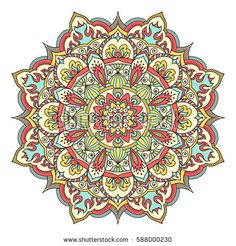 The eight-pointed mandala. Circular ornament. Mottled coloring.