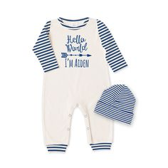 Personalized Newborn Take Home Outfit, Newborn Boy Romper & Optional Hat, Minimalist Baby Shower Gift, Baby Boy Coming Home Outfit, Tesababe
