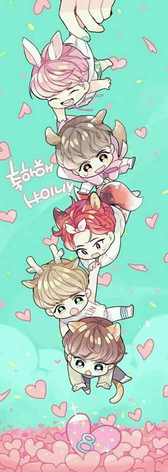 ❤️❤️❤️❤️not sure if this is actually BTS but it's cute and the one with red hair looks like Jimin in dope era