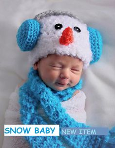 SNOWBABY Newborn photo op Hat  Scarf and by inkybinkyproductions, $24.99