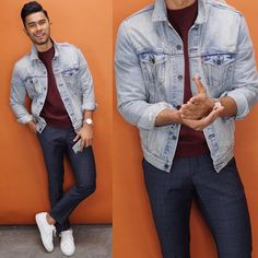 winter mens fashion that look cool 962781 Outfit Hombre Casual, Denim Outfit, Casual Outfits, Stylish Men, Men Casual, Teaching Mens Fashion, Facon, Looks Style, Denim Fashion