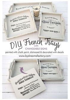 trays makeover french trays with changeable signs inserts, chalk paint, crafts French Country Rug, French Decor, French Country Decorating, French Crafts, French Style, Diu, Wood Crafts, Diy And Crafts, Distressed Decor