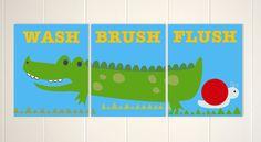 Alligator Bathroom, Kids Bathroom Art, Bathroom Decor, Boys Wall Art,  Crocodile Art, Wash, Flush, Brush, Set Of 3, Custom Colors