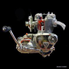 No 92: TRIUMPH 500cc - CUTAWAY ENGINE by Gordon Calder