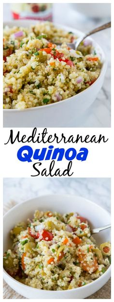 Mediterranean Quinoa Salad – a light and fresh quinoa salad recipe with tomatoes, green olives and tossed with a lemon vinaigrette. Great warm or cold all year round!