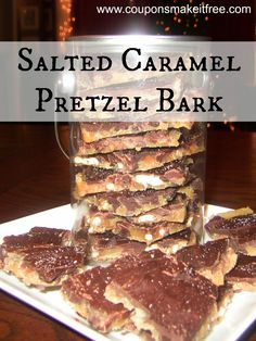 """Salted Caramel Pretzel Bark. One pinner says """"This stuff is amazing...I made it for a Christmas party and everyone wanted the recipe!"""""""