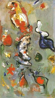 The Fish and the Bird 1945 - Hans Hofmann reproduction oil painting